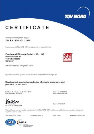 febi bilstein TUV Nord certificate DIN EN ISO 9001- 2016 EN-1
