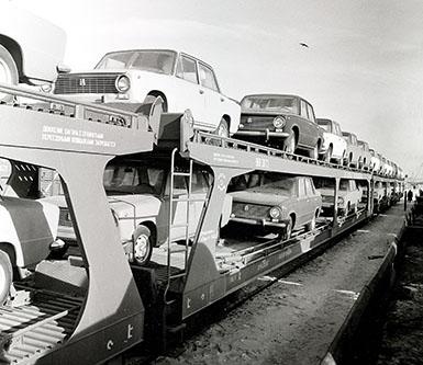 Экспедиция Жигули на ж д платформе 1972г